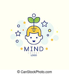 Outline vector logo design with sprout coming out of child head. Mind energy and growth concept. Children early education and development. Creative brain