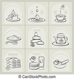 Outline vector set spa theme icons.