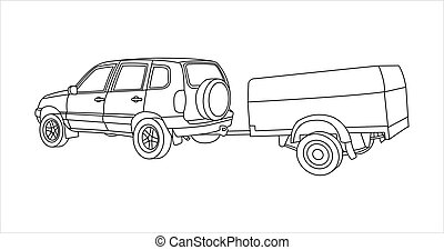 Outline Vector SUV With Trailer.