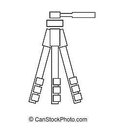 Outline vector tripod icon on the white