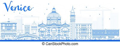 Outline Venice Skyline Silhouette with Blue Buildings.