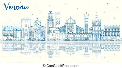 Outline Verona Italy City Skyline with Blue Buildings and Reflections. Vector Illustration. Business Travel and Tourism Concept with Historic Architecture. Verona Cityscape with Landmarks.