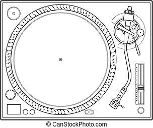 outline vinyl turntable - vector outline vinyl dj turntable
