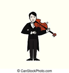 Outline Violinist man character playing music. Musican playing on musical instruments. Violin player