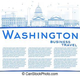 Outline Washington DC Skyline with Blue Buildings and Copy Space.