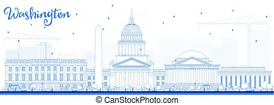 Outline Washington DC Skyline with Blue Buildings.