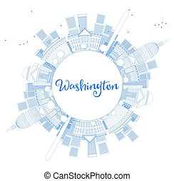 Outline Washington DC Skyline with Copy Space and Blue Buildings.