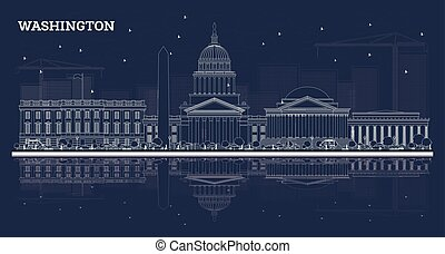 Outline Washington DC Skyline with White Buildings and Reflections.