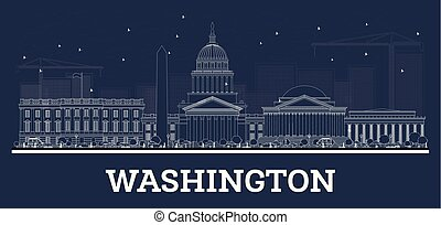 Outline Washington DC Skyline with White Buildings.