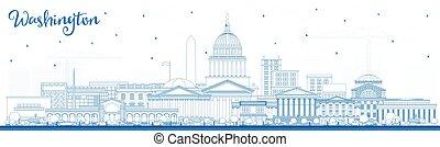Outline Washington DC USA City Skyline with Blue Buildings.