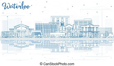 Outline Waterloo Iowa USA City Skyline with Blue Buildings and Reflections.