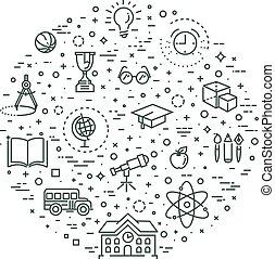 Outline web icon set - School education