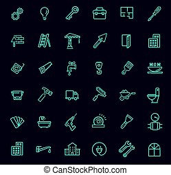 Outline web icons set - construction, repair tools