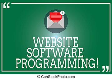 outline., website, software, concept, programmering, tekst, binnen, of, coderen, mark, betekenis, papier, handschrift, programming., enveloppe, nieuw, boodschap, enables, open, email, prijsopgave