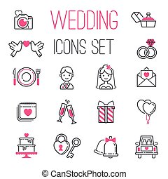 Outline wedding day marriage icons set of icons for...