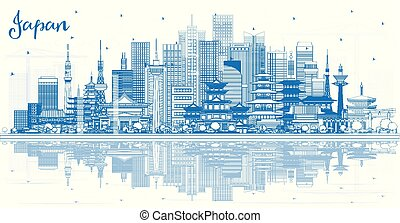 Outline Welcome to Japan Skyline with Blue Buildings and Reflections. Vector Illustration. Tourism Concept with Historic Architecture. Cityscape with Landmarks. Tokyo. Osaka. Nagoya. Kyoto. Nagano.