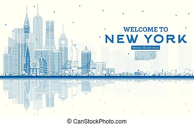 Outline Welcome to New York USA Skyline with Blue Buildings and Reflections.