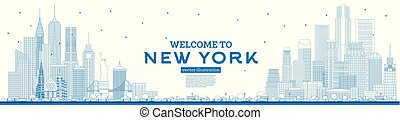 Outline Welcome to New York USA Skyline with Blue Buildings.