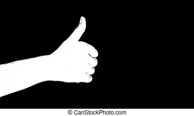 Outline white sketch of showing thumb up gesture sign like ...
