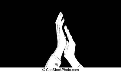 Outline white sketch of two female hands clap and applauded ...