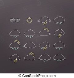 outline wi - set of weather icons with sun, clouds, rain, ...