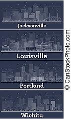 Outline Wichita Kansas, Louisville Kentucky, Portland Oregon and Jacksonville Florida USA City Skyline Set with White Buildings.