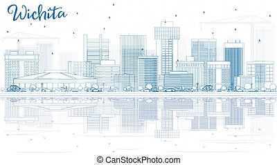 Outline Wichita Skyline with Blue Buildings and Reflections.