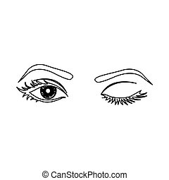 outline winking woman's eyes icon