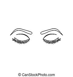Monochrome Silhouette With Female Eyes Closed And Eyebrow Vector