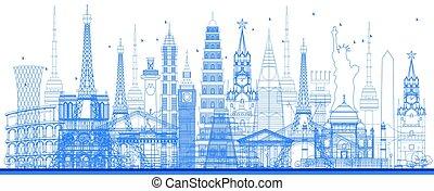 Outline world famous landmarks. Vector illustration.