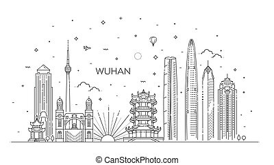 Business Travel and Concept with Historic Architecture. Wuhan Cityscape with Landmarks