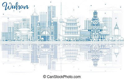 Outline Wuhan Skyline with Blue Buildings and Reflections. Vector Illustration. Business Travel and Tourism Concept with Modern Architecture. Image for Presentation Banner Placard and Web Site.