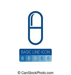 outline., zijn, pil, gebruikt, concept., vrijstaand, element, capsule, vector, ontwerp, groenteblik, medicament, medicament