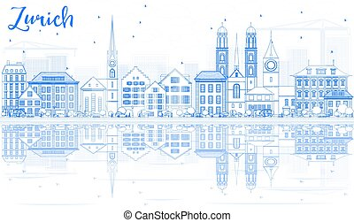 Outline Zurich Skyline with Blue Buildings and Reflection.