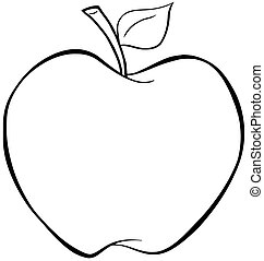 Outlined Apple - Illustration Of Outlined Cartoon Apple