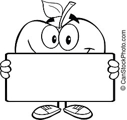 Outlined Apple Holding A Banner