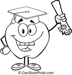 Outlined Apple Holding A Diploma