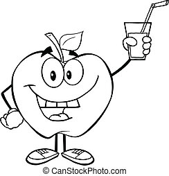 Outlined Apple Holding A Drink