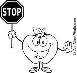 Outlined Apple Holding A Stop Sign