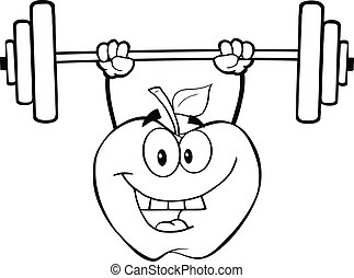 Outlined Apple Lifting Weights