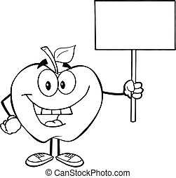 Outlined Apple With Up A Blank Sign