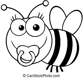 Outlined Baby Bee Cartoon Mascot Character