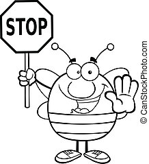 Outlined Bee Holding A Stop Sign