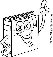Outlined book cartoon