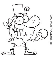 Outlined Boxing Leprechaun