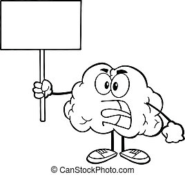 Outlined Brain Holding A Blank Sign