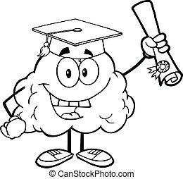Outlined Brain Holding A Diploma