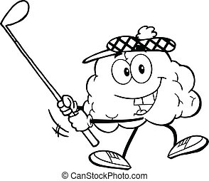 Outlined Brain Swinging A Golf Club