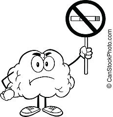 Outlined Brain With No Smoking Sign