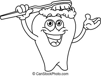 Outlined brushing tooth